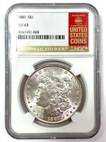 1887 MORGAN SILVER DOLLAR - NGC MINT STATE 63 - THE OFFICIAL RED BOOK LABEL