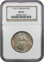 1937-D OREGON 50C NGC MINT STATE 65 - LOW MINTAGE ISSUE - SILVER CLASSIC COMMEMORATIVE