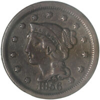 1856 BRAIDED HAIR LARGE CENT SLANTED 5  FINE VF SEE PICS G210