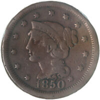 1850 BRAIDED HAIR LARGE CENT FINE FN SEE PICS G174