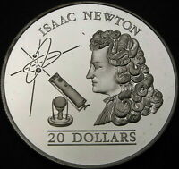 TUVALU 20 DOLLARS 1993 PROOF   SILVER   ISAAC NEWTON   2148