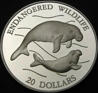 TUVALU 20 DOLLARS 1994 PROOF   SILVER   DUGONG   2150