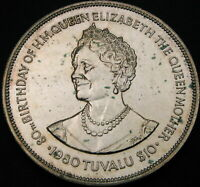 TUVALU 10 DOLLARS 1980   SILVER   QUEEN MOTHER   AUNC   2175