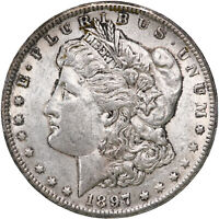 1897 S MORGAN SILVER DOLLAR ABOUT UNCIRCULATED AU