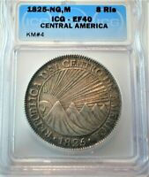 1825 NG M CENTRAL AMERICA SILVER 8 REALES CERTIFIED BY ICG X