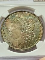 1884 $1 MORGAN DOLLAR NGC MINT STATE 64 DOUBLE SIDE RAINBOW TONING 90 SILVER COIN JC77