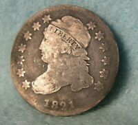 1821 CAPPED BUST SILVER DIME UNITED STATES COIN