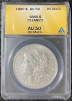 1880-P $1 MORGAN SILVER DOLLAR ANACS SLAB AU 50 DETAILS CLEANED