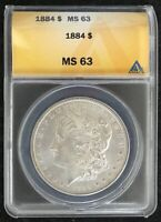 1884-P $1 MORGAN SILVER DOLLAR ANACS SLAB MINT STATE 63  COIN