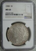 1900-P MORGAN SILVER $1 - LIGHTLY TONED - NGC MINT STATE 63