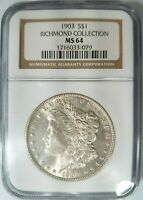 1903 SILVER MORGAN DOLLAR NGC MINT STATE 64 RICHMOND COLLECTION HOARD PEDIGREE COIN