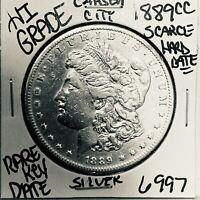 1889 CC MORGAN SILVER DOLLAR HI GRADE GENUINE U.S. MINT  KEY COIN 6997
