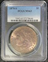 1879-S $1 MORGAN SILVER DOLLAR PCGS SLAB MINT STATE 63 TONED OBVERSE