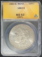 1883-P $1 MORGAN SILVER DOLLAR DEEP MIRROR PL ANACS MINT STATE 63 HARDER DATE IN DMPL