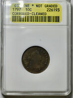 1797 DRAPED BUST 10C DIME   CERTIFIED   ANACS   CORRODED CLE