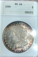 1896 MINT STATE 64 ANA CETIFIED COLORFUL TONE AROUND EDGES 90 SILVER FROM ESTATE