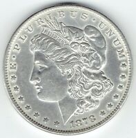 1878-P $1 MORGAN SILVER DOLLAR REVERSE OF 1879 AU DETAILS BUT CLEANED