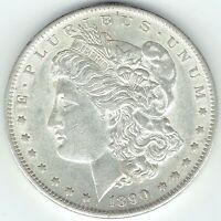 1890-S $1 MORGAN SILVER DOLLAR AU / UNCIRCULATED SLIDER