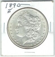 1890-S $1 MORGAN SILVER DOLLAR  AU/SLIDER