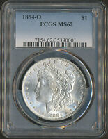 PCGS MINT STATE 62 | 1884-O MORGAN SILVER DOLLAR 90 .7735 TROY OZ OF SILVER 35390001