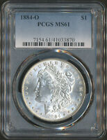PCGS MINT STATE 61 | 1884-O MORGAN SILVER DOLLAR 90 .7735 TROY OZ OF SILVER 41033870