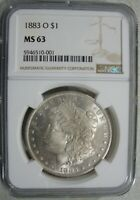 1883-O MORGAN SILVER $1 - NGC MINT STATE 63 - STRONG OBVERSE PL