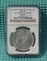 1886 MORGAN SILVER DOLLAR - GRADED BY NGC MCCLAREN COLLECTION MINT STATE 63 - 90 SILVER