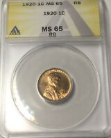 1920 P  LINCOLN CENT GEM  MS65 RED BROWN COLOUR GREAT LUSTRE ANACS PLEASING COIN