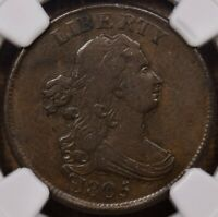 1805 C.1 NO STEMS HALF CENT, NGC VF30 BN, SMOOTH AND PLEASING DAVIDKAHNCOINS