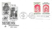 1960 FDC 1157 4C MEXICAN INDEPENDENCE ART CRAFT DUAL ISSUE W