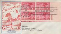 1949 G.A.R. UNION VETS PLATE BLOCK ON FDC W/ MCCAWLEY CACHET