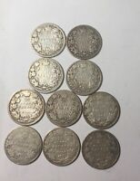 1902 TO 1910 EDWARD VII CANADA 25 CENT 10 DIFFERENT MIXED GRADE SOME BETTER