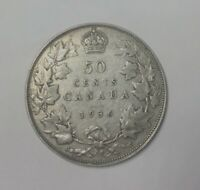 CANADA 1936 50 CENT GEORGE V SHARP  MID GRADE EXAMPLE NICE GREY COLOUR 6 PEARLS