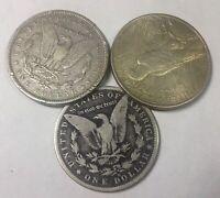 1881 O 1888 O & 1922 SILVER DOLLAR GROUP OF 3 CULL OR BETTER MIXED  GRADE COINS