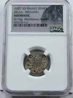 NGC AUTHENTIC MEDIEVAL FRENCH AR DENIER. 1207 1233AD. DEOLS