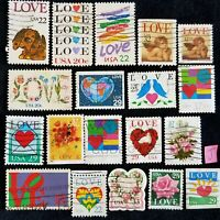 US STAMPS LOVE LOT OF OVER 30 ALL DIFFERENT USED OFF PAPER