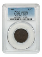 1804 1/2C PCGS G DETAILS GRAFFITI, PL. 4, NO STEMS EARLY HALF CENT TYPE COIN