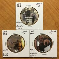 8TH PRINT SET OF 10 CENTS AAFES POGS 2006 A. TOTAL OF 3 POGS. UNCIRCULATED.