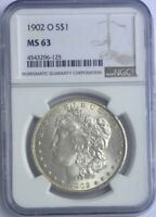 1902 O MORGAN DOLLAR NGC MS 63 LIGHT RIM TONE FULLY FROSTED COIN NICE FOR GRADE