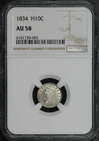 1834 3/INVERTED 3 CAPPED BUST HALF DIME NGC AU-58