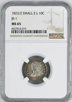 1823 CAPPED BUST 10C NGC MINT STATE 65