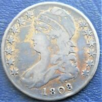 .892 SILVER 1808 UNITED STATED CAPPED BUST HALF DOLLAR IKM37  GRADE  EHB