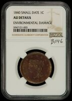 1840 1C BRAIDED HAIR LARGE CENT - ATTRACTIVE EXAMPLE - NGC AU DETAILS - B1146