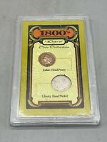 VINTAGE 1800'S  COIN COLLECTION INDIAN HEAD PENNY 1893 LIBERTY HEAD NICKEL