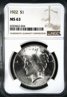 :1922-P 1$ SILVER PEACE DOLLAR BRIGHT FROSTY NGC CHOICE-BU MINT STATE 63 HIGHEST-GRADES