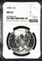 :1923-P 1$ SILVER PEACE DOLLAR BRIGHT FROSTY NGC CHOICE-BU MINT STATE 63 HIGHEST-GRADES