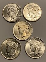PEACE DOLLAR LOT OF 5 $1 COINS SILVER