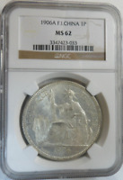:1906A 1-PIASTRE FRANCE KM 5A.1 NGC MINT STATE 62 F.I.CHINA LOW-POP R-6 HIGHEST-GRADES