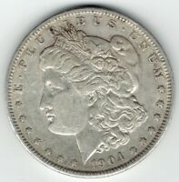1904-P $1 MORGAN SILVER DOLLAR, UNDERRATED DATE, FULL FEATHERS EXTRA FINE