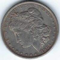 1904-P $1 MORGAN SILVER DOLLAR, UNDERRATED DATE, STRONG EXTRA FINE  LIKELY CLEANED